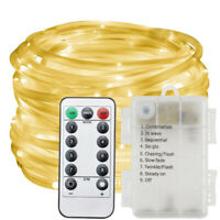 10M LED String Fairy Lights Rope Tube Battery Garden IR Remote Decoratio Outdoor