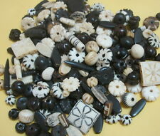 1/2 Pound Assorted Bone Carved Natural beads mixed loose Organic Black Antique A