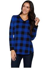 Denim & Co Buffalo Plaid Jersey V-Neck Long Sleeve  Lapis Blue M A298059
