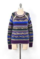 Juicy Couture Fuzzy Angora Rabbit Hair Metallic Yarn Intarsia Knit Sweater S