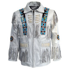 Men's White Handmade Western American Cowboy Leather Jacket Fringe Bone Eagle