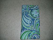 Sunglass / Eyeglass Soft Fabric Case - Classic Paisley Print in Blue / Green