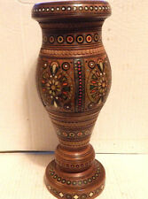 "DECORATIVE TWO PIECE 12"" SOUTH ASIAN / INDIA WOODEN VASE"