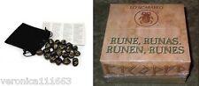 Black Stone Viking Runes NEW Sealed 25 Genuine Engraved Stones Bag Instructions