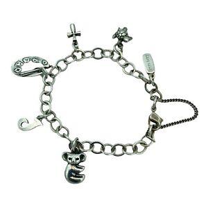 "James Avery Charm Bracelet W/ 5 Charms Sterling Silver 6.50"" with RETIRED KOALA"