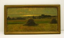 Impressionist Painting Oil on Board Canvas Scenic Haystack signed Olaf Jylling