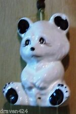 White Ceramic Teddy Bear Wind Chimes With 6 Porcelain Chimes