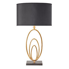 Endon Vilana lampe de table 60W Noir faux soie & antique feuille d'or