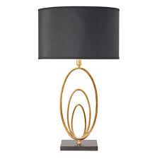 Endon Vilana table lamp 60W Black faux silk & antique gold leaf