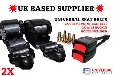 2X Universal Grey 3 Point Seat Belts. 3M Webbing. 25 Cm Wire Buckles. E4. UK.