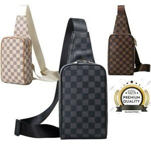 Luxury Designer Men's Chest Bag Shoulder Pack Unisex Plaid Zipper Messenger Bags