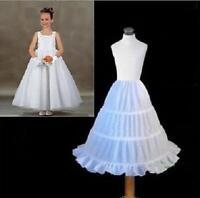 Flower Girl 3-Hoop A-Line Crinoline Petticoat Underskirt Children Age 2-14