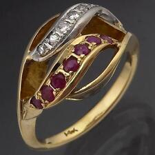 High 14k Solid Yellow GOLD RUBY & DIAMOND DOUBLE WAVE Openwork RING Mid Sz N