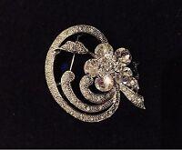 VINTAGE JEWELRY - 1940s Dazzling Art Deco Rhinestone Silver Tone Brooch Pin