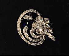 VINTAGE JEWELRY - 1940s Dazzling Art Deco Rhinestone Silver Tone Brooch Pin