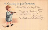 Ellen H. Clapsaddle Happy Birthday Postcard Little Boy Carrying a Cake~116823
