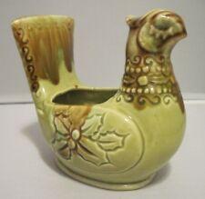 Vintage Mid Century Partridge Bird Ceramic Candle Holder Browns/Greens
