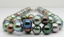 "18""12-15mm Tahitian genuine black peacock green multicolor round pearl necklace"