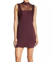 Free People Womens XS Beaumont Muse Plum Purple Stretch Lace Cocktail Dress