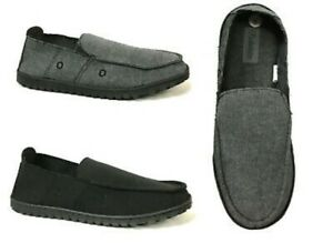 Men's Canvas Loafer Slippers House Shoes Moccasins Heavy Duty Rubber Bottom NEW