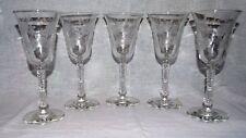 Vintage Glass Wine Glasses - Etched Floral, Vines and Leaves Design - Set of 5