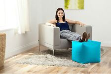 Turquoise Faux Leather Cube Bean Bag Pouffe Foot Stool Beanbag Footstool Seat