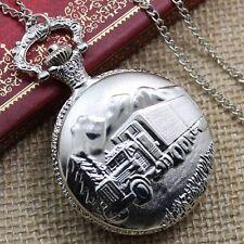 Fashion Retro Silver Big Truck Pocket Watch Necklace Chain Gifts Women Men's
