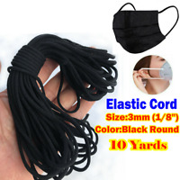 """3mm (1/8"""") Black Round Elastic Band Cord Ear Hanging Sewing For Face Mask 10M"""
