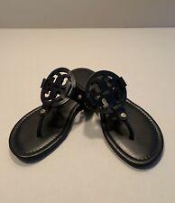 Tory Burch Miller Black Leather Sandals Flip Flops Women's Size 6 M