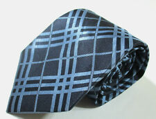 Burberry London Plaid Checks Pattern Blue Color Silk Necktie Tie Made In Italy