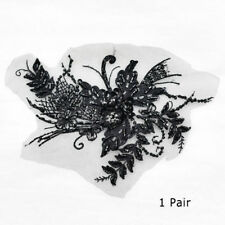 1 Pair Pearl Beaded Lace Applique With Sequins Embroidery Mesh Lace Trim