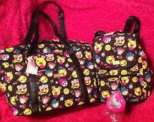BETSEY JOHNSON 2pc Weekender & Backpack EMOJI DOGS   Duffle Travel Bag NEW