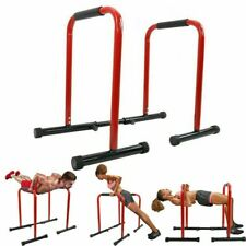 Parallel Dip Station Bars Home Gym Parallettes Workout Crossfit Calisthenics Red