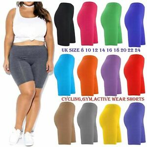womens ladies 100% COTTON SHORTS CYCLE CYCLING RUNNING CASUAL BIKER Size 6 to 24