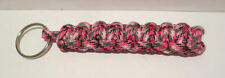 Ladies Handmade Paracord Keyring Zipper Pull Key Fob  ~ Pink Grey White Camo ~