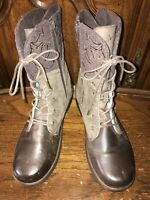Jambu Hemlock Brown Leather Combat Lace-up/Zip Women's Boots Size 10M