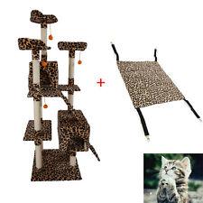 "72"" Leopard Print Cat Tree + L Adjustable Pet Cat Canvas Hammock Pet House Toy"