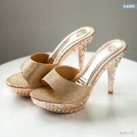 Slipper Womens Mules Shoes 12cm Stilettos Heel Open Toe Sandals Sexy Model Club