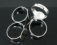 10 New DIY Rings Base Blank Glue-on Adjustable Silver Tone Jewelry 17.5mm (US 7)