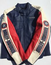 Harley Davidson Men's Rapid City Colorblocked Leather Jacket XL White Blue