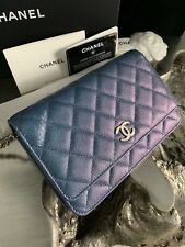 NWT CHANEL 19S IRIDESCENT BLUE CAVIAR WOC CLUTCH WALLET-ON-CHAIN CC PEARLY 2019