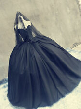 New Black Sweetheart Ball Gown Wedding Dresses Victoria Gothic Bridal Gowns