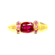 EXCEPTIONAL GEMS 1.0 CT BLOOD RED RUBY OVAL STERLING SILVER 925 RING SIZE 6.25