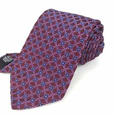HUGO BOSS Italy 59 Classic Skinny Burgundy Purple Blue Floral Grid Silk Neck Tie
