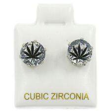 Mens Silver 7mm Round Surgical Steel Clear CZ Hip Hop Black Leaf Stud Earrings