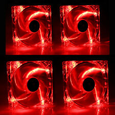4 PCS 120mm 4 LED Red CPU Cooling Fan Computer PC Clear Case Quad Heatsink Mod