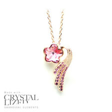 PINK BLOSSOM Swarovski Elements Crystal 18-KRGP White Gold Plated Necklaces