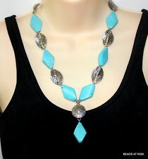 CLEARANCE - Turquoise & diamond metal handmade necklace - Blue & silver