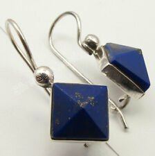 "Navy Blue Square Lapis Lazuli 5.0 tcw Dangle Earrings 0.9"" Sterling Silver"