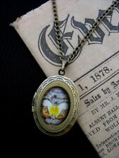 Vintage Victorian Bronze Butterfly Cameo Photo Locket Necklace Steampunk Boho